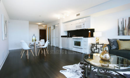 HOME STAGING-CONDO-GTA- TORONTO-LIVING ROOM-KITCHEN