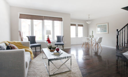 HOME STAGING -Town house- DINING -LIVING ROOM -SAGE STAGING & REDESIGN INC.