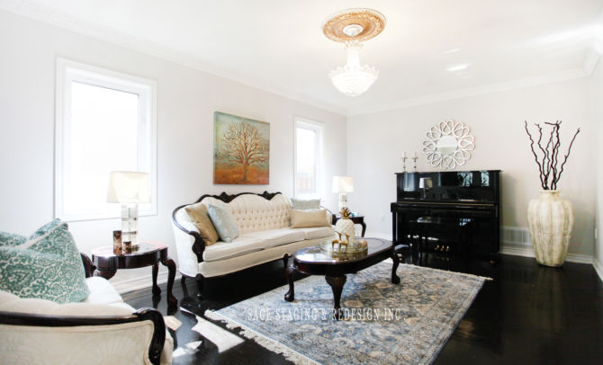 LIVING ROOM  HOME STAGING STAGED BY SAGE STAGING & REDESIGN INC TORONTO GTA